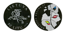 Lithuanian silver collector 50 litu coin dedicated to the 25th anniversary of the Baltic Way