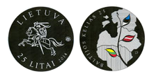 Lithuanian commemorative 25 litai coin dedicated to the 25th anniversary of the Baltic Way