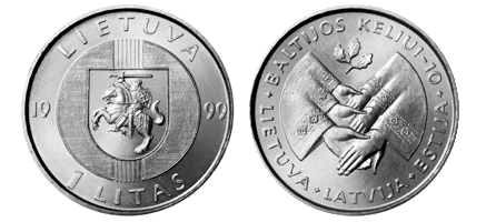 1 litas coin, dedicated to the 10th Anniversary of the Baltic Way