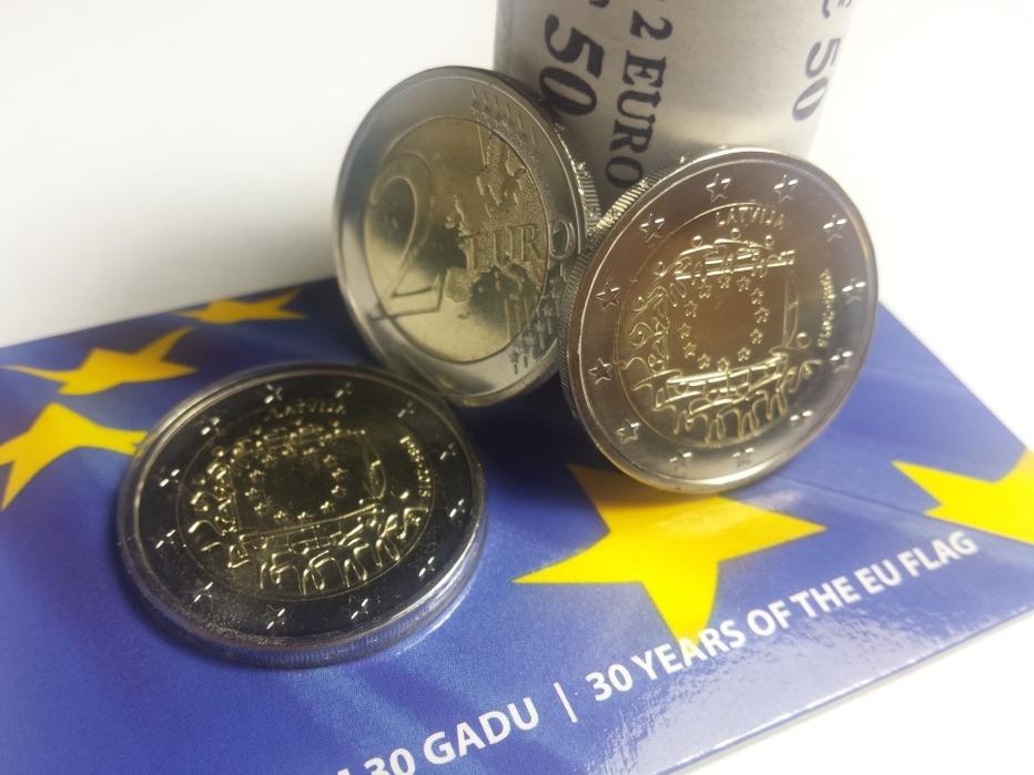 Latvija 2 eiro monēta ES karogam 30 BU