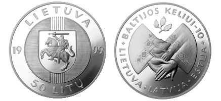 50 litas coin issued to mark the 10th Anniversary of the Baltic Way